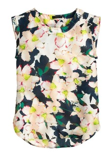 Sleeveless drapey top in cove floral