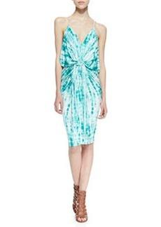 T Bags Tie-Dye Knotted Sheath Dress, Blue/White