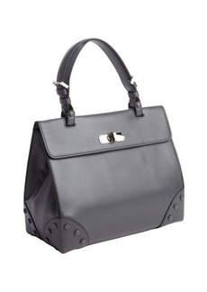 Armani dark grey calfskin top handle tote bag