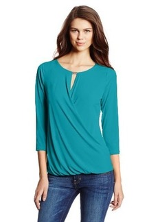 Calvin Klein Women's Solid Drape Top With Hardware