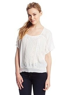 Lucky Brand Women's Elbow Sleeve Top with Embroidery