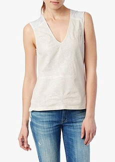 Perforated Leather Tank in Blanc de Blanc