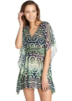 Steve Madden green printed chiffon 'Electric Feel' bat wing coverup tunic