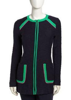 Nanette Lepore Contrast Trim Zip Front Blazer, Navy