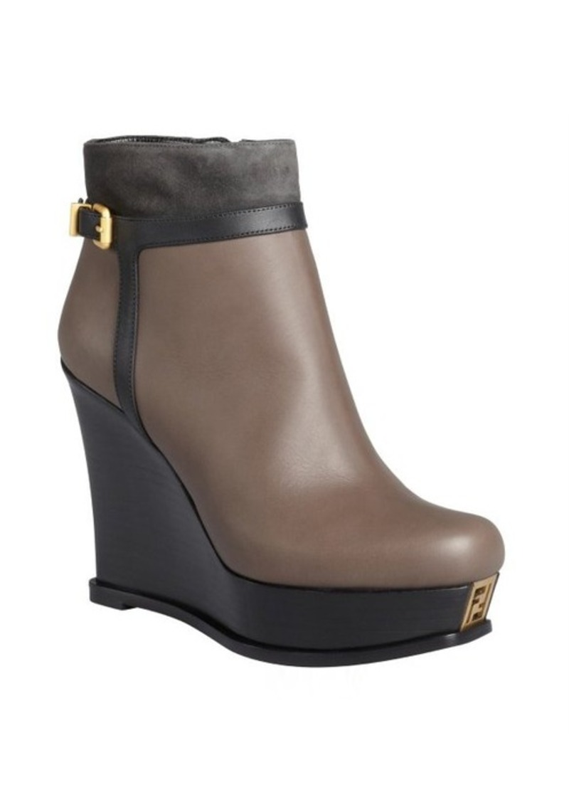 fendi black and smoke leather wedge ankle boots shop it