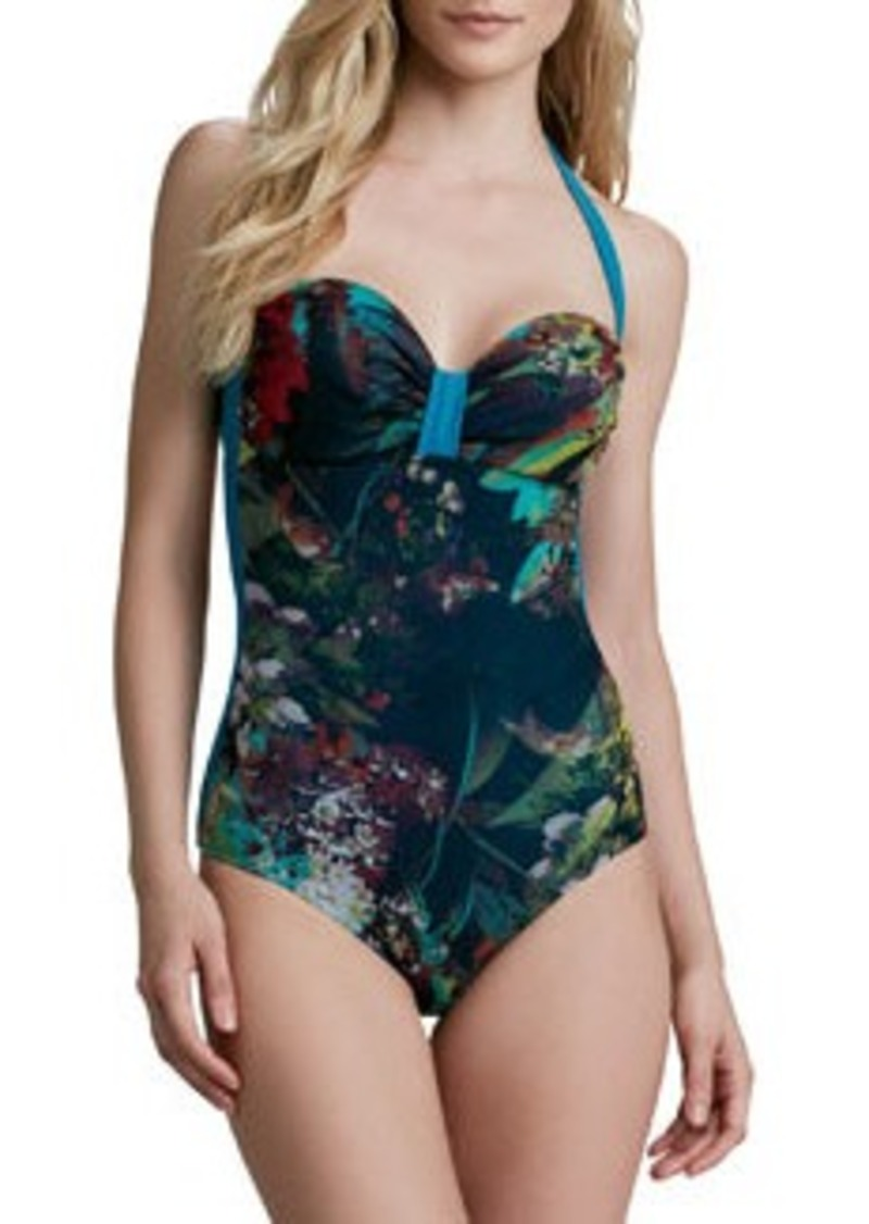 Winter Floral Printed Halter Sweetheart One-Piece   Winter Floral Printed Halter Sweetheart One-Piece