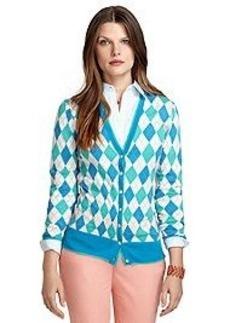 Saxxon® Wool Argyle Cardigan