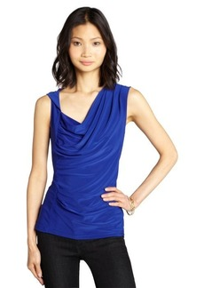 Tahari ultraviolet stretch knit 'Carlina' drape front sleeveless blouse