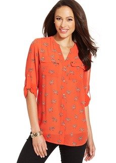 Charter Club Petite Zebra-Print Button-Front Shirt
