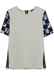 Tibi Printed silk and cotton-jersey top