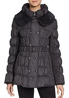 Via Spiga Rabbit Fur Collar Coat