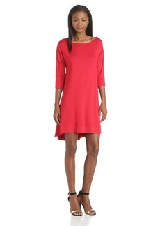 Three Dots Red Women's 3/4 Sleeve Fish Tail Dress with V-Back