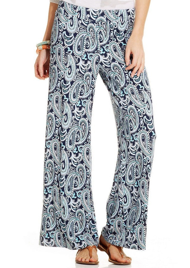 Charter Club Petite Printed Wide-Leg Pants