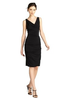Nicole Miller black sleeveless pebble crepe drape front dress