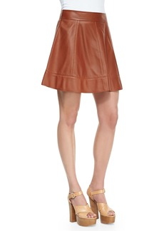 Michael Kors Leather A-Line Skirt