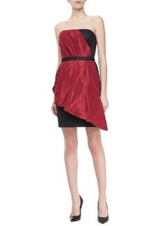 Jason Wu Strapless Draped Dress, Ruby/Black
