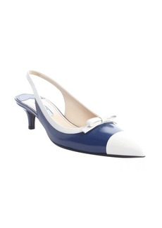 Prada cobalt blue leather pointed toe kitten heel slingbacks