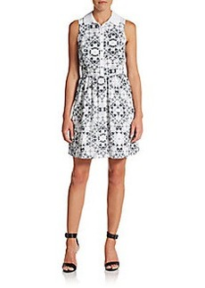Kensie Printed Fit-And-Flare Shirtdress
