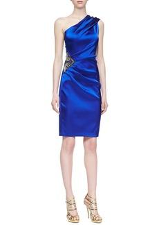 David Meister One-Shoulder Satin Dress, Deep Royal