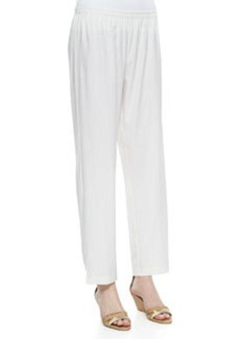 Go Silk Linen Slim Pants, White, Women's