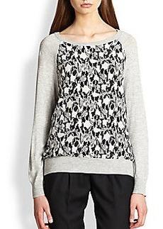 Joie Printed-Panel Dolman-Sleeved Sweatshirt
