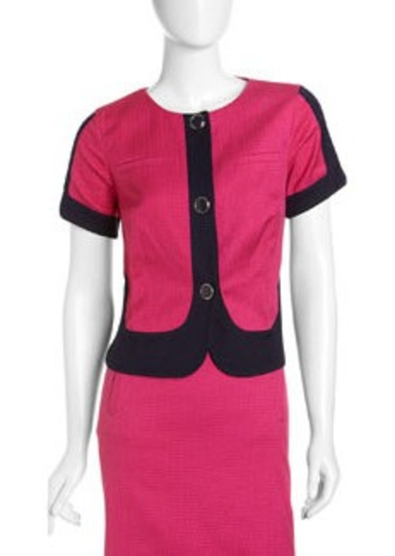 Laundry by Shelli Segal Colorblock Short-Sleeve Jacket, Inkblot/Dark Neon Pink