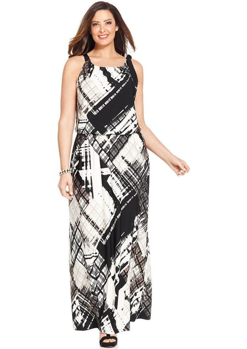 Alfani Plus Size Printed Blouson Maxi Dress