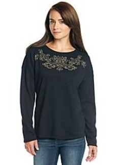 Earl Jean® Caviar Stud Embroidered Knit Top