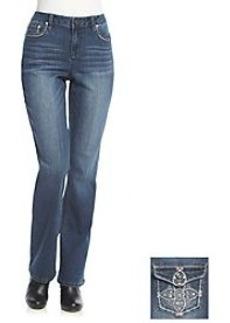 Earl Jean® Flower Back Flap Pocket Boot Cut Jeans