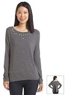 Earl Jean® Jeweled Neckline Top With Flyaway Back