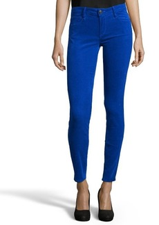 Earnest Sewn bright blue stretch cotton corduroy 'Esra' mid-rise skinny jeans