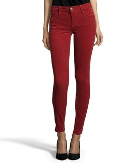 Earnest Sewn wine stretch cotton corduroy 'Esra' mid-rise skinny jeans