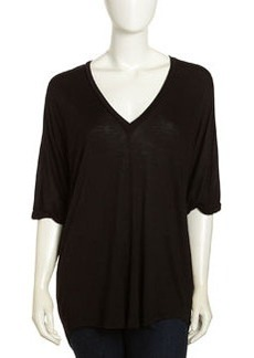 Paper Denim & Cloth Varic V-Neck Oversized Tee, Black