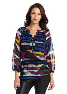 Calvin Klein Women's Printed Peasant Top