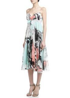 Diane von Furstenberg Jolie Marble-Print Pleated Dress, Spring Marble