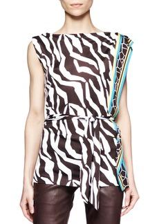 Escada Zebra-Print Jersey Sleeveless Top
