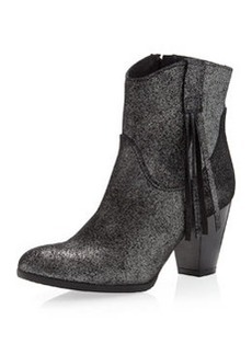 Charles David Fray Tassel Boot, Metallic Suede