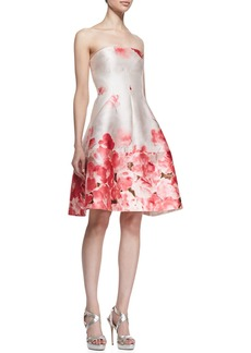 Lela Rose Seamed Floral Strapless Dress, Peony