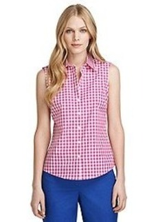 Fitted Sleeveless Gingham Dress Shirt