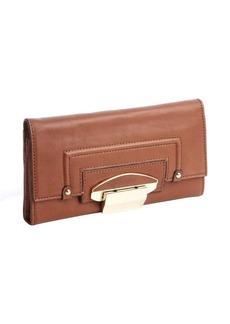Kooba luggage brown leather foldout flip lock continental wallet