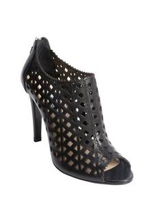 Prada black leather cutout detail peep toe ankle booties