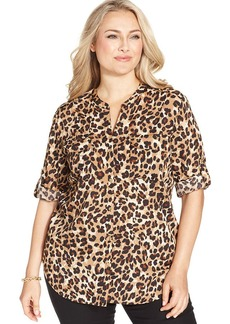 Charter Club Plus Size Animal-Print Utility Shirt