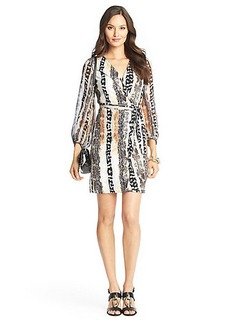 Sigourney Sheer Sleeved Silk Jersey Wrap Dress
