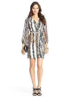 Sigourney Sheer Sleeved Silk Jersey Wrap Dress