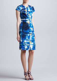 Lela Rose Piped Abstract-Print Dress, Cerulean/Multi