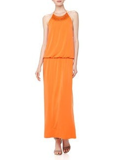 Laundry By Design Crochet-Neck Halter Maxi Dress, Pop Orange