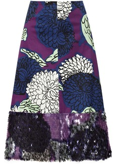 Marni Embellished printed cotton skirt