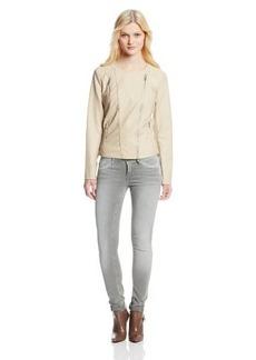 Calvin Klein Women's Collarless Moto Jacket