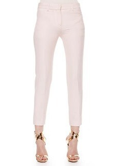 Roberto Cavalli Wool-Linen Ankle Pants, Blush