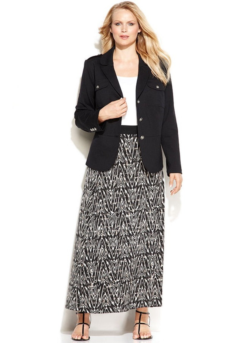 Alfani Plus Size Arrowhead-Print Maxi Skirt